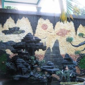 Tranh tường sỏi màu dùng làm nền cho tiểu cảnh