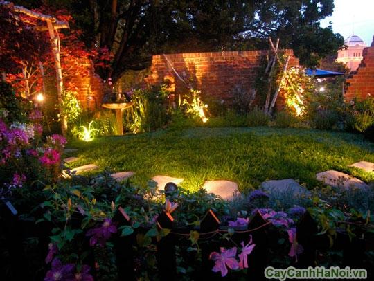 Cảnh quan sân vườn lung linh về đêm