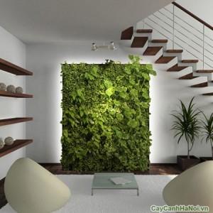 Tường cây chân cầu thang tươi mát không gian