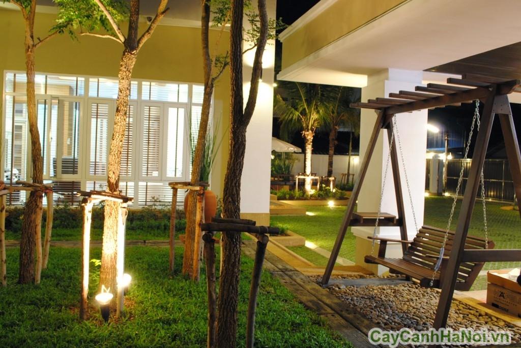 Tiểu cảnh sân vườn lung linh về đêm
