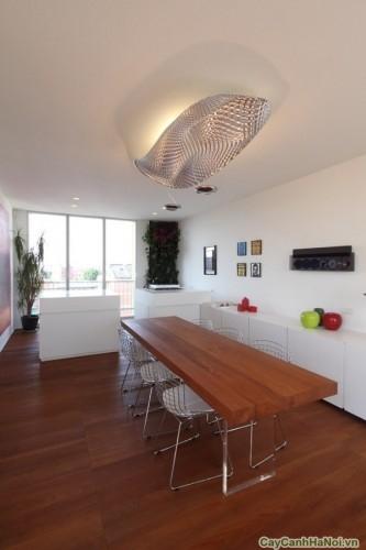 Bên trong nhà, sàn gỗ được lát xuyên suốt góp phần vào một sự hài hòa hình ảnh tổng thể.